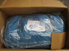 A boxed as new Vango Odyssey 800 Deluxe tent in sky blue.