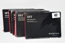 Five boxed as new Morphe 15T (Your True Selfie) eyeshadow palettes.