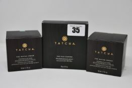 Two Tatcha The Water Cream (50ml) and one Tatcha The Silk Canvas (20g), all boxed as new.