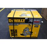 One boxed as new DeWalt 54V Cordless Flex volt Mitre Saw Body Only (Model: DCS777N).