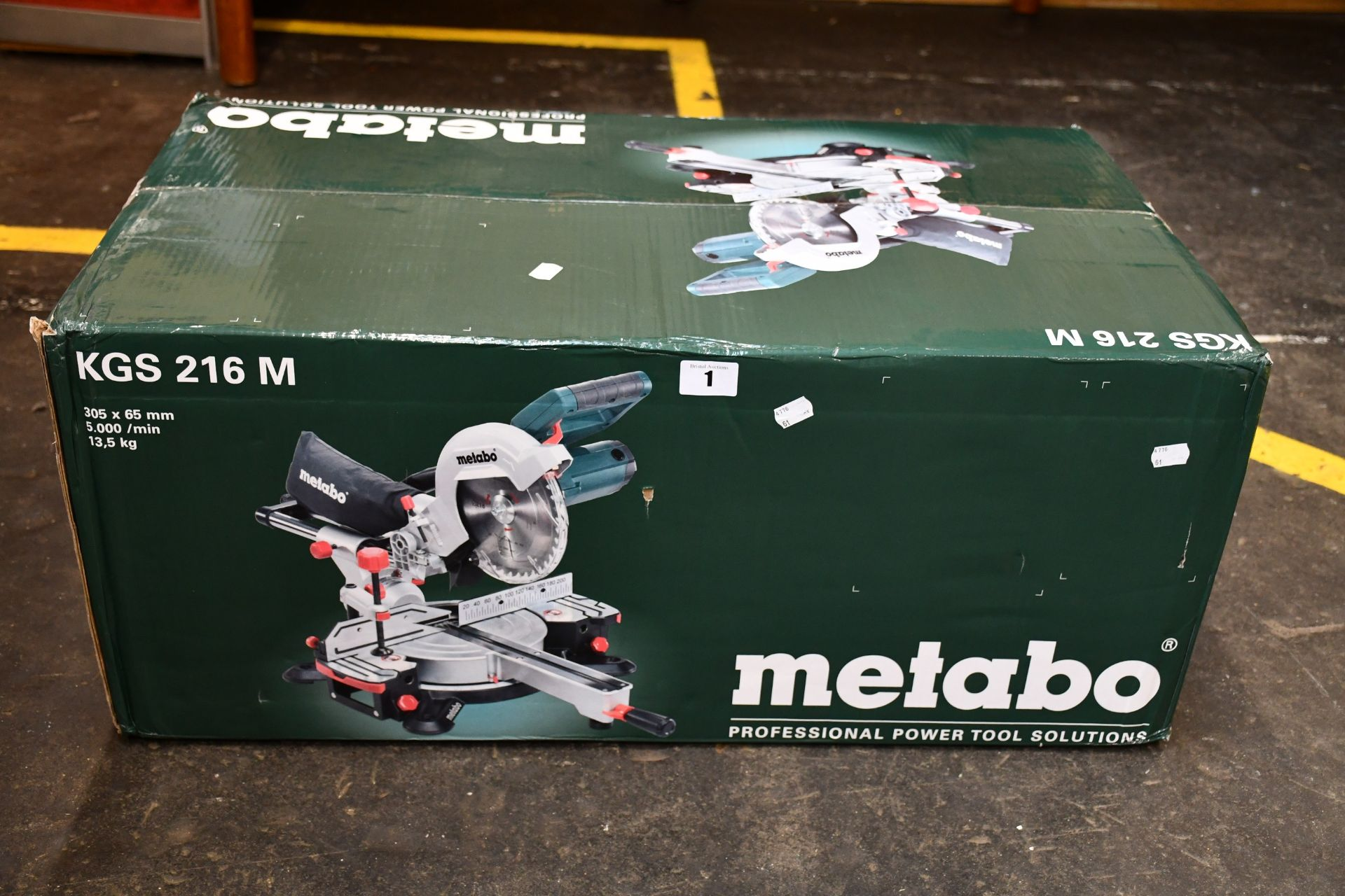 One boxed as new Metabo 110v Crosscut Mitre Saw (Model: KGS216M).