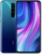 A boxed as new Redmi Note 8 Pro Android Mobile Phone 6GB RAM 128GB Storage in Ocean Blue. Requires