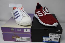 Two pairs of as new Adidias trainers; Girls Are Awesome Superstar (UK 8) and Lite Racer CLN (UK 7.