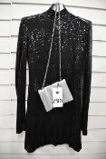 One as new David Koma Open-back high-neck sequin mini dress size 12 and an as new Zara silver