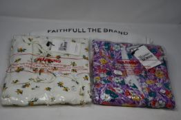 Two as new Faithfull The Brand midi dresses; Maeve (AU 14/XL) and Marie-Louise (AU 10/M).