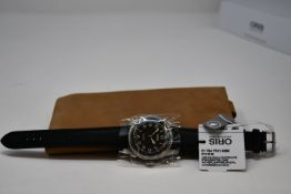 A men's boxed as new Oris Big Crown Pointer Date Automatic stainless steel and leather watch in