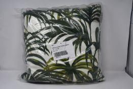 Two as new House Of Hackney Palmeral medium cotton-linen cushions in off white and green.