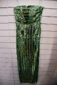 One women's as new Galvan London Green Stargaze Bandeau Dress size 42 (120SEDR002404JD).