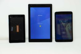 SOLD FOR PARTS ONLY: Three pre-owned Android tablets sold for parts; an Allview Viva H8 LTE 8GB (FRP