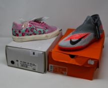 A pair of as new Adidas Continental Vulc in pink (UK 6) and a pair of Nike Phantom VSN Academy DF TF