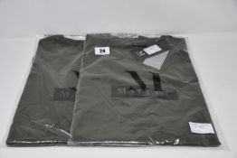 Four as new Mallet T-shirts in khaki (All L - RRP £45 each).
