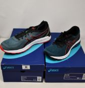 Two pairs of as new Asics trainers; Gel-Sileo (UK 11.5) and GT-800 (UK 8).