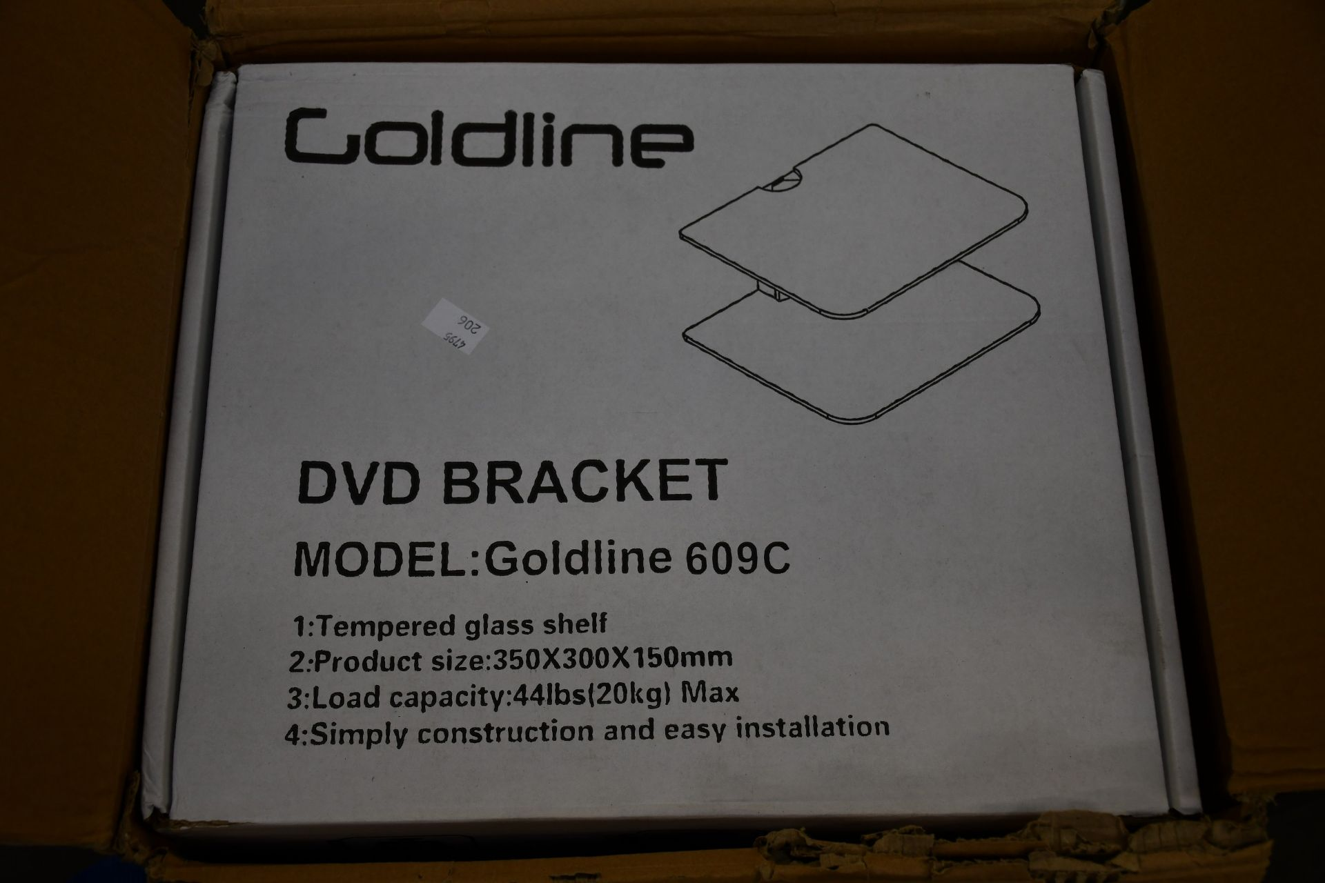 Five boxed as new Goldline 609C DVD wall shelf mount brackets.