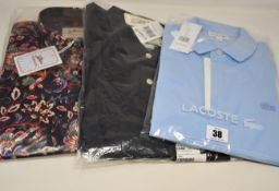 A men's as new Joe Brown shirt (M), Grayers Forged Iron shirt (XL - RRP $98) and a Lacoste polo
