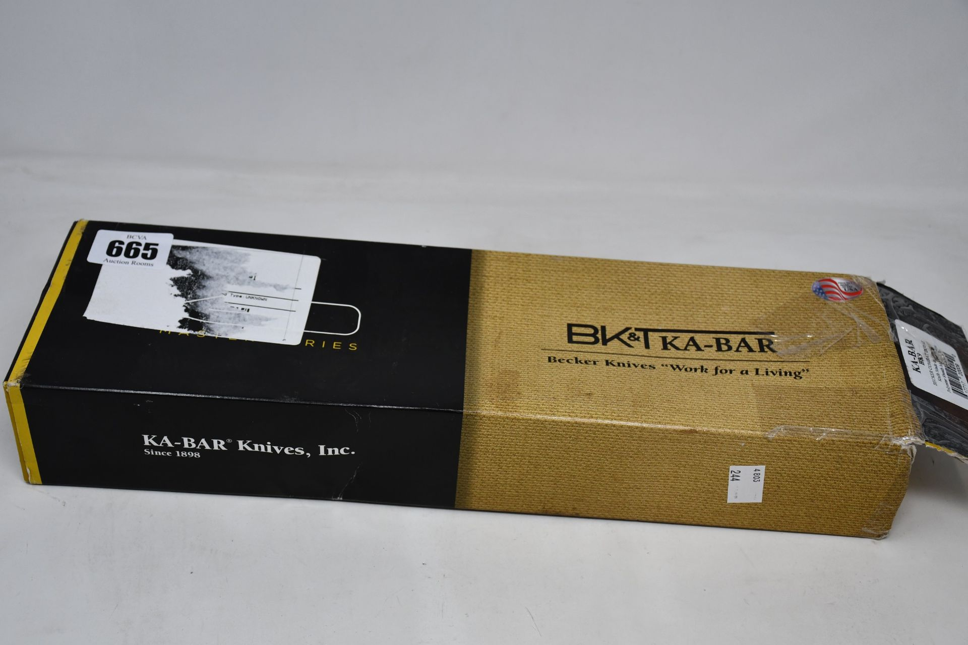 One boxed as new KA-BAR Becker BK9 Combat Bowie knife (Over 18s only).