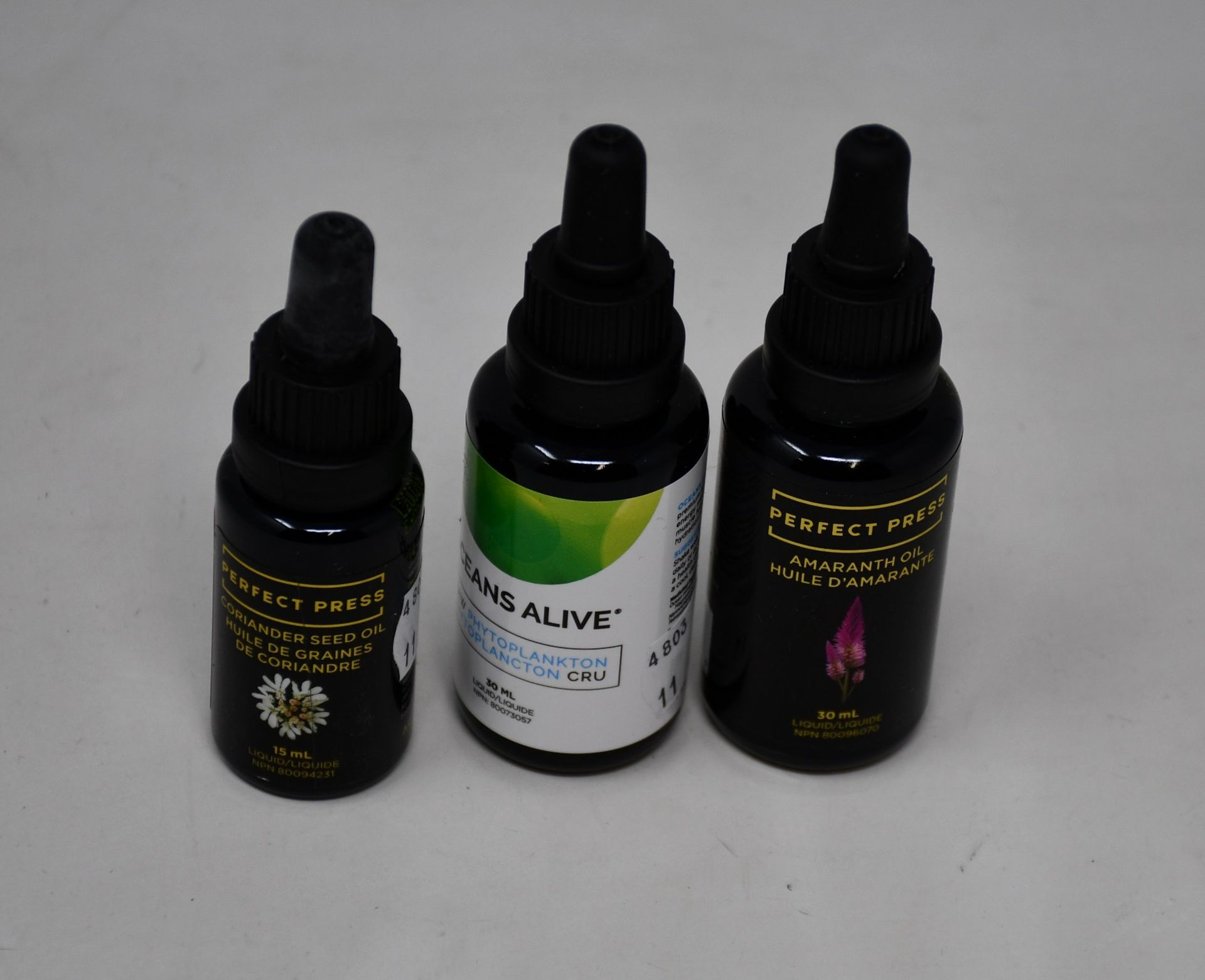 Three as new Perfect Press Coriander Seed Oil (15ml), three as new Perfect Press Amaranth Oil (30ml)