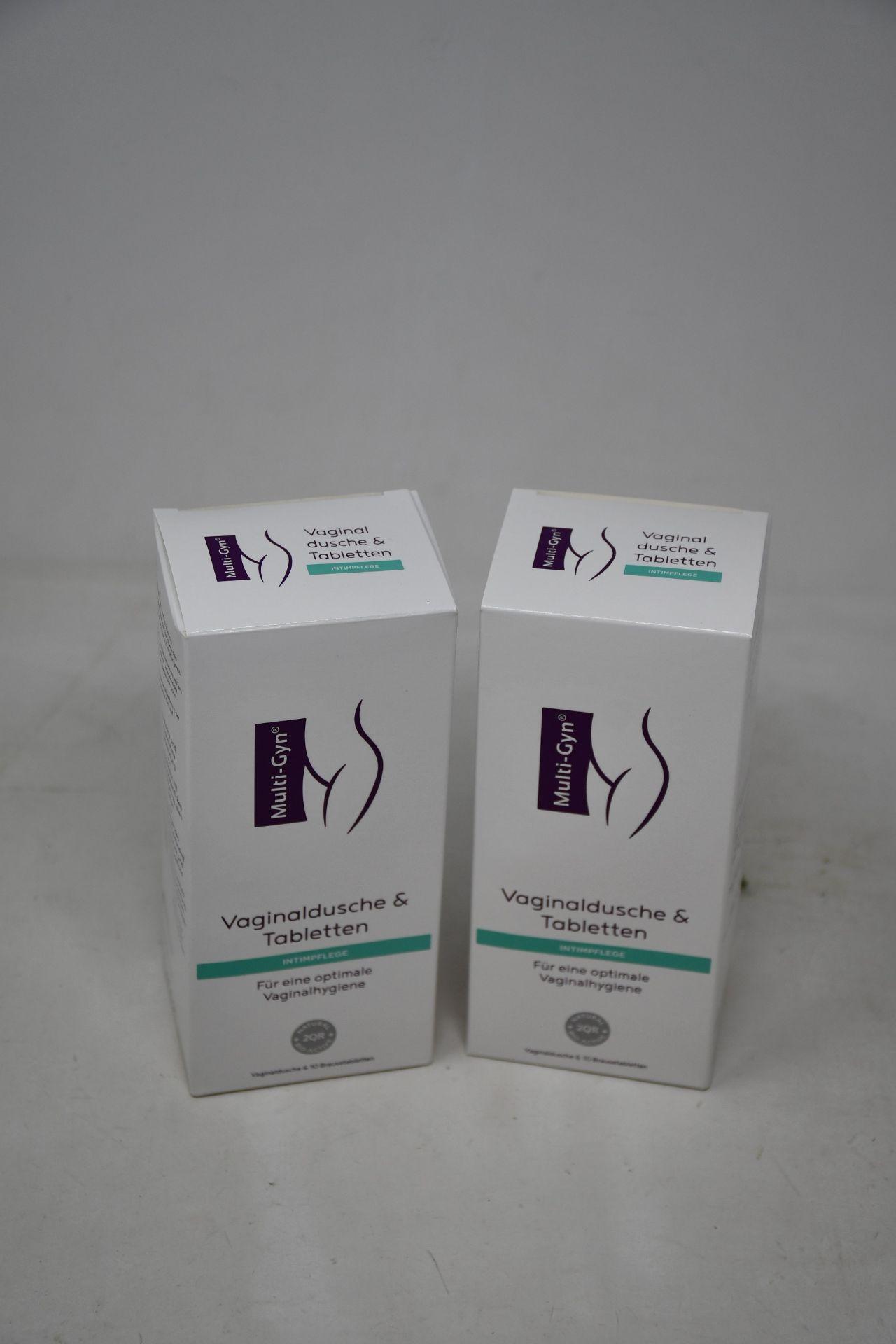 Twelve boxed as new Multi-Gyn Vaginal Douche Combipacks (German packaging).