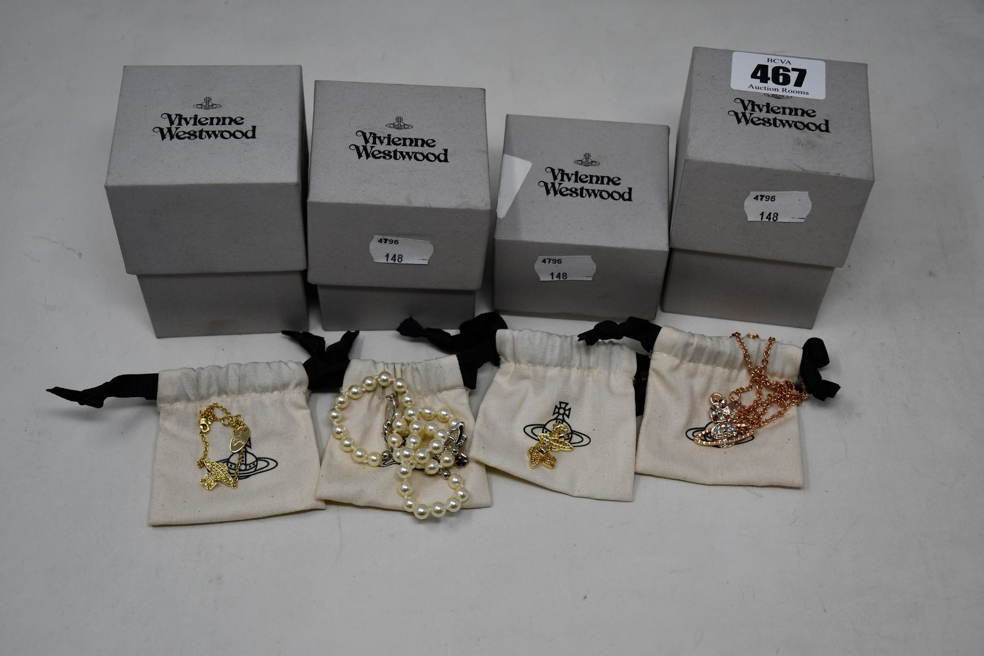 Four item of as new Vivienne Westwood jewellery to include studs, necklace and bracelet.