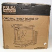 A boxed as Original Prusa i3 MK3S 3D printer kit(box opened, cosmetic damage to box) and three boxed