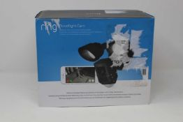 A boxed as new Ring Floodlight Motion Activated Security Camera in Black (Box opened, cosmetic
