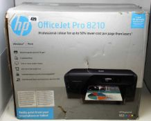 A boxed as new HP Officejet Pro 8210 Printer in Black (M/N: D9L63A#A81) (Box sealed, cosmetic damage