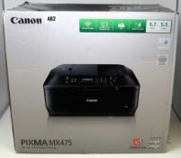 A boxed as new Canon PIXMA MX475 All-in-One Inkjet Printer in Black (Box sealed, cosmetic damage