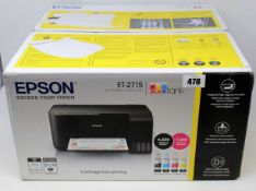 A boxed as new Epson EcoTank ET-2715 A4 Colour Multifunction Inkjet Printer (Part No: