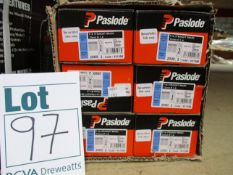 Six boxes of Paslode 921588 1.6 x 32mm F16 Straight Brads x 2000 with 2 Fuel Cells.
