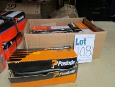Four boxes of Paslode 141267 3.1 x 90mm Round Smooth Shanks Nails x 1100 with 1 Fuel Cell.