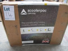 A boxed as new Scooterpac standard folding mobility scooter canopy (Cosmetic damage to outer box).