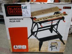 Three boxed Black and Decker Workmate Plus 825 work bench.