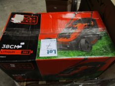 A boxed Black + Decker CLM3820L2 Lawnmower.