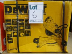 One boxed as new DeWalt 240v XPS slide mitre saw (Model: DEWDWS774).