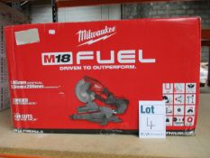 One boxed as new Milwakee M18 FMS254-0 mitre saw.