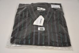 An as new Wales Bonner Capleton military shirt in charcoal/emerald viscose stripe (Size 50 - RRP £