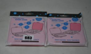 Three hundred boxed as new Antibacterial Face Mask Cases in pink.