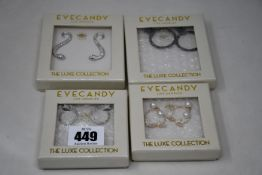 Four pairs of as new Eyecandy LA earrings.