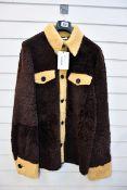 An as new Wales Bonner Brixton Shearling jacket in dark brown/ochre (Size 50 - RRP £1,950).