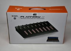 A boxed as new Icon Platform X MIDI/Audio control surface with motorized faders.