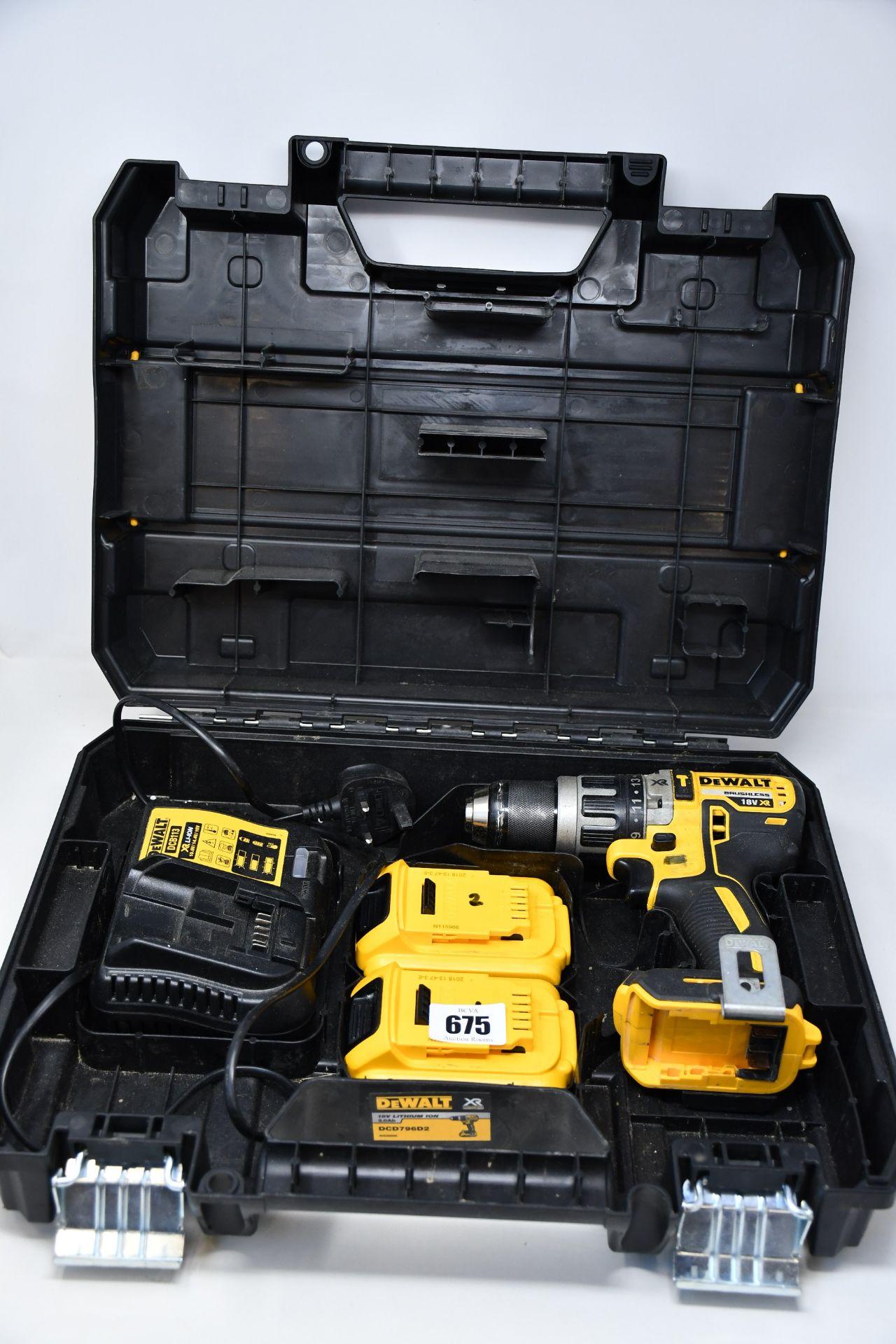 One boxed DeWalt brushless 18v cordless combi drill to include two DeWalt 18V 2.0AH LI-ION XR