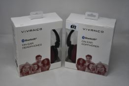 Five boxed as new Vivanco on-ear bluetooth headphones (Mooove air red).