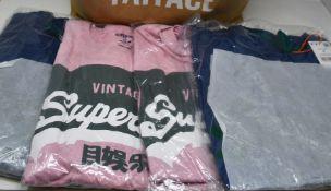 Seven as new Superdry Vintage Logo varsity T-shirts (3 x M, 1 x L, 1 x XL, 1 x XXL, 1 x XXXL -