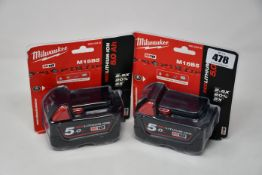 Two as new Milwaukee M18B5 18V 5.0Ah Lithium-Ion Batteries.