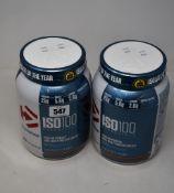 Four Dymatize ISO100 Hydrolyzed Protein Powder (100% Whey Protein Isolate) in chocolate peanut