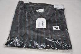 An as new Wales Bonner Capleton military shirt in charcoal/emerald viscose stripe (Size 48 - RRP £