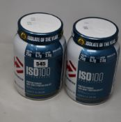 Four Dymatize ISO100 Hydrolyzed Protein Powder (100% Whey Protein Isolate) in chocolate peanut and