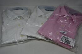 Three as new Ralph Lauren Classics shirts; two white (XL) and one pink (L).