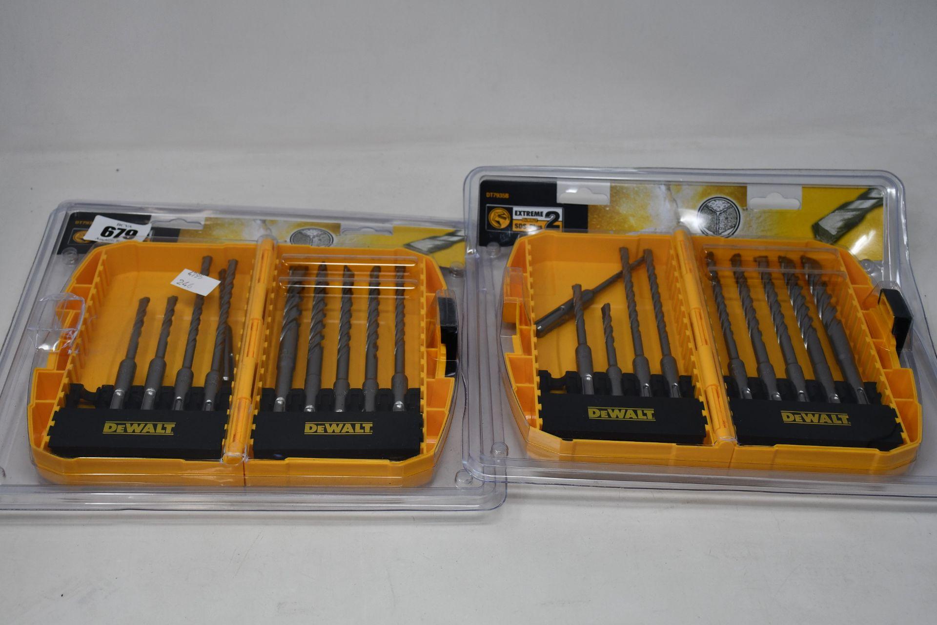 A quantity of boxed as new DeWalt DT7935B-QZ ten piece extreme two SDS plus drill bit set (