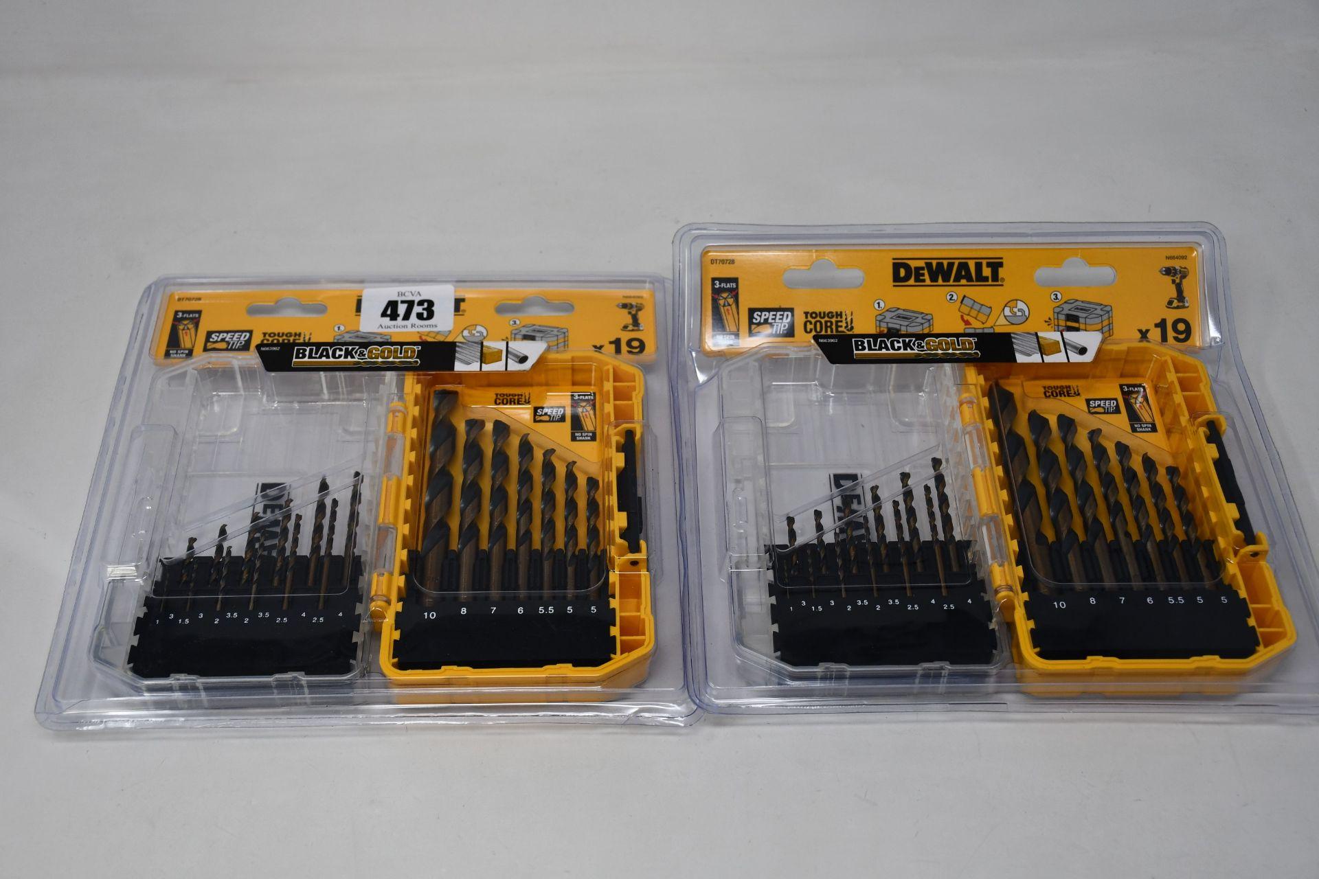 Five as new DeWalt DT70728 19-piece HSS Black & Gold Drill Bits with TStak Caddy.