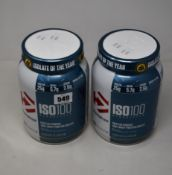 Four Dymatize ISO100 Hydrolyzed Protein Powder (100% Whey Protein Isolate) in cookies & cream